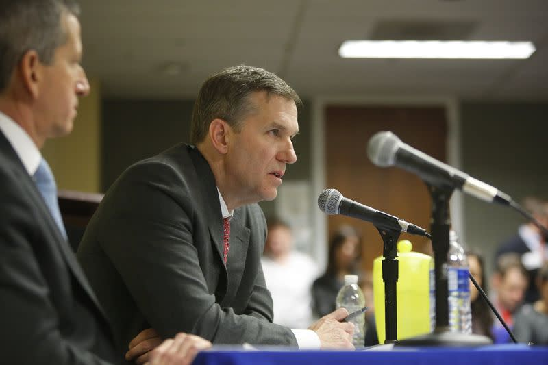 Credit Suisse Deputy Head of Asset Management Johnson delivers remarks during a public regulatory hearing at the U.S. Labor Department in Washington
