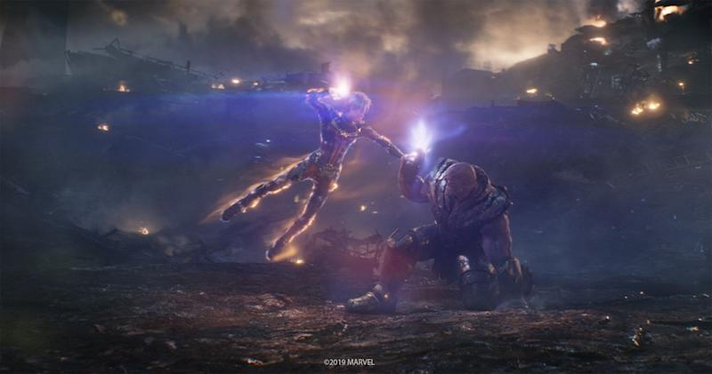 """Captain Marvel takes on Thanos in the """"Women of Marvel"""" portion of the final battle (Photo: Marvel)"""