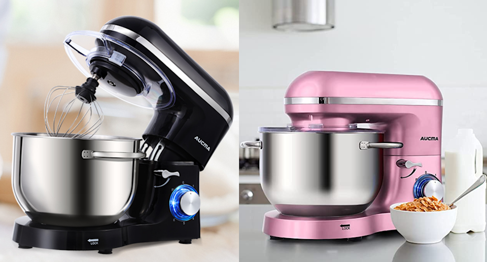 Save up to 36% on the Aucma Stand Mixer. Images via Amazon.