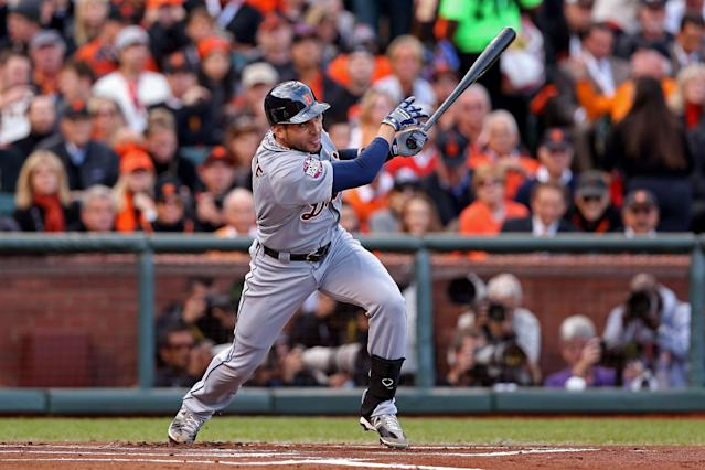 SAN FRANCISCO, CA - OCTOBER 24: Omar Infante #4 of the Detroit Tigers hits a base hit against Barry Zito #75 of the San Francisco Giants in the first inning during Game One of the Major League Baseball World Series at AT&T Park on October 24, 2012 in San Francisco, California. (Photo by Christian Petersen/Getty Images)