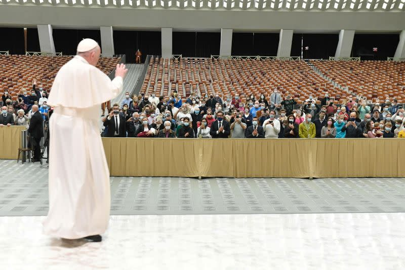 Pope Francis attends the weekly general audience at the Vatican