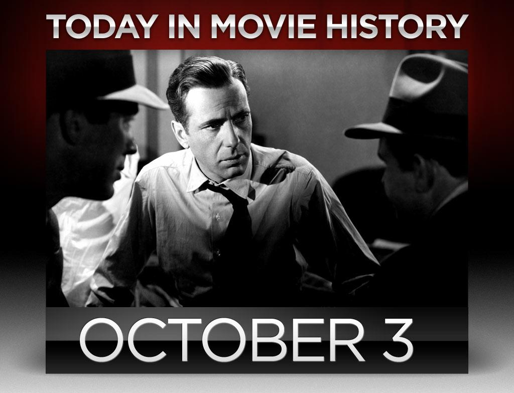 """<b>1941</b> – The hardboiled detective story many film scholars consider the first film noir, John Huston's adaptation of Dashiell Hammett's novel """"<a href=""""http://movies.yahoo.com/movie/the-maltese-falcon/"""">The Maltese Falcon</a>,"""" premiered on this day in New York City. In his directorial debut, Huston directed Humphrey Bogart's portrayal of private eye Sam Spade, thanks in no small part to George Raft, who turned down the role four days before shooting began. Reportedly, Bogart could also thank Raft for turning down two other roles he'd make famous: Roy Earle in """"High Sierra"""" (1941) and Rick Blaine in """"Casablanca"""" (1942)."""