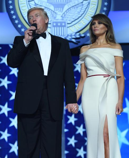 First Lady Melania Trump won rave reviews for her look and originality in choosing Herve Pierre a New York-based designer who last year struck out on his own (AFP Photo/JIM WATSON )