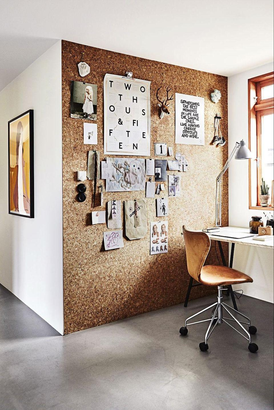 <p>Prioritize functionality by covering an entire wall in cork square panels. Then pin calendars, to-do lists, and bucket list-worthy photos straight to it.</p>