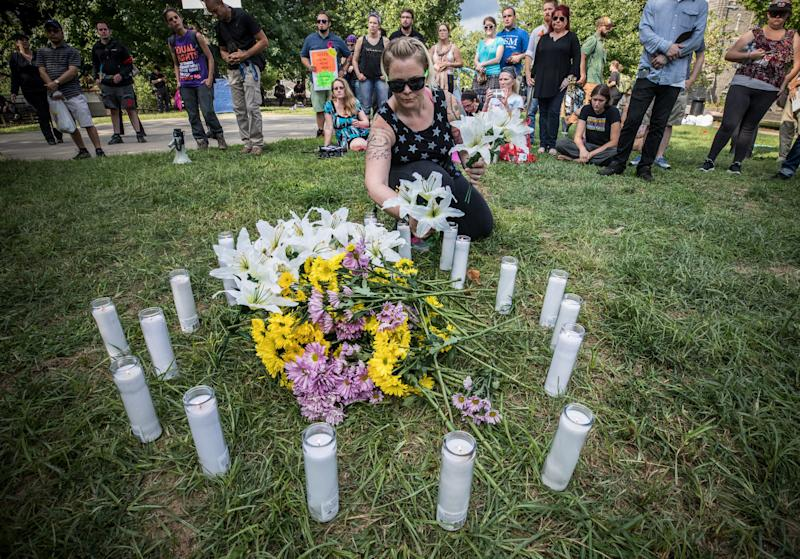 A vigil is held in Charlottesville's McGuffey Park for the victim killed by a car following the Unite the Right rally on Aug. 12, 2017. (Evelyn Hockstein / The Washington Post via Getty Images)