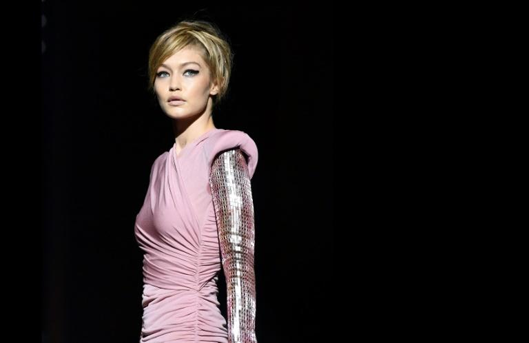 Model Gigi Hadid walks the runway for Tom Ford's show at New York fashion week in 2017