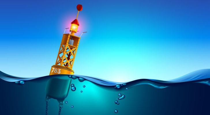 a light buoy in the middle of the ocean. stocks under $10