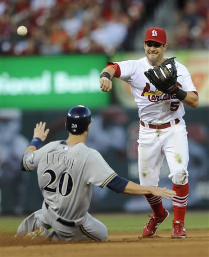 Milwaukee Brewers' Jonathan Lucroy (20) is forced out as St. Louis Cardinals' Skip Schumaker (5) completes the double play by getting Brewers' Jeff Bianchi at first in the third inning in a baseball game on Saturday, Sept. 8, 2012, at Busch Stadium in St. Louis. (AP Photo/Bill Boyce)