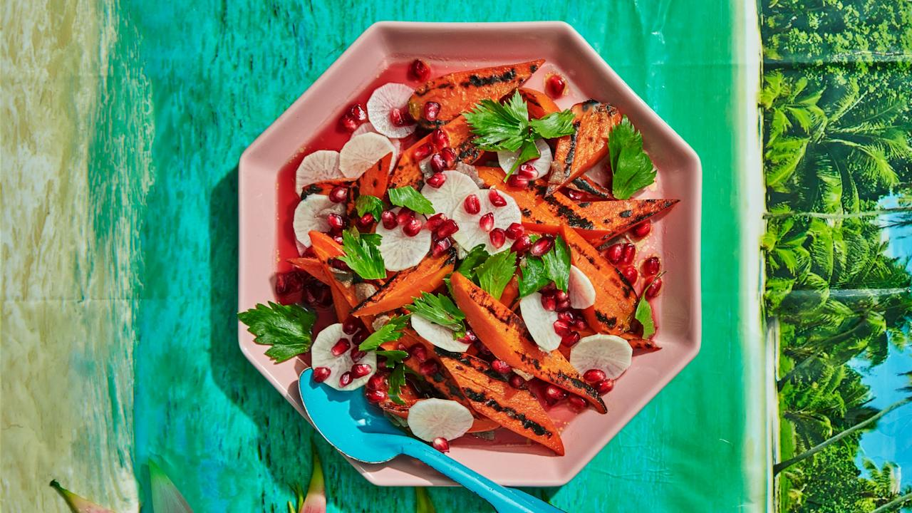 """""""You gotta do what you gotta do to get a little sunshine,"""" says Black of the pomegranate in this recipe. """"We get so little locally during winter, but citrus and pomegranate <em>are</em> in season, just not here—and now's the time to embrace them."""" <a href=""""https://www.bonappetit.com/recipe/blackened-carrots-with-daikon-and-pomegranates?mbid=synd_yahoo_rss"""">See recipe.</a>"""