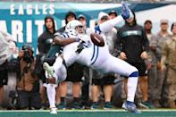 <p>Defensive back Jalen Mills #31 of the Philadelphia Eagles breaks up a pass intended for tight end Eric Ebron #85 of the Indianapolis Colts during the third quarter at Lincoln Financial Field on September 23, 2018 in Philadelphia, Pennsylvania. (Photo by Mitchell Leff/Getty Images) </p>