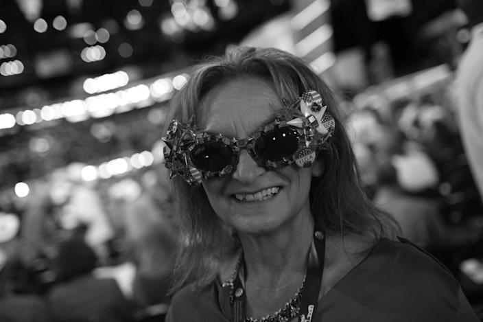 <p>Kansas delegate Virginia Macha shows her glasses on the floor of the Republican National Convention in Cleveland, OH on July 19, 2016. (Photo: Khue Bui for Yahoo News)</p>