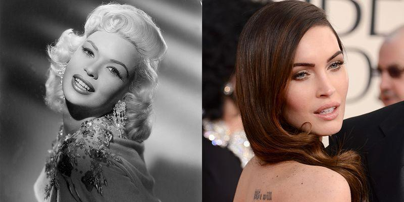 <p>Megan Fox may not share Jayne Mansfield's platinum blonde hair, but their brown eyes and full pouts make Megan nearly identical to the late film star.</p>