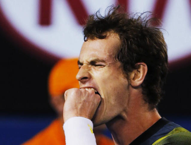 Andy Murray of Britain reacts during his men's singles final match against Novak Djokovic of Serbia at the Australian Open tennis tournament in Melbourne January 27, 2013. REUTERS/Damir Sagolj (AUSTRALIA - Tags: SPORT TENNIS TPX IMAGES OF THE DAY) - RTR3D14E