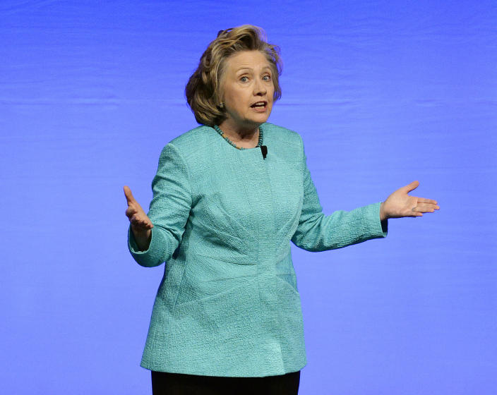 Former Secretary of State Hillary Clinton delivers the keynote address to the United Methodist Women's Assembly at the Kentucky International Convention Center, Saturday, April 26, 2014, in Louisville, Ky. (AP Photo/Timothy D. Easley)