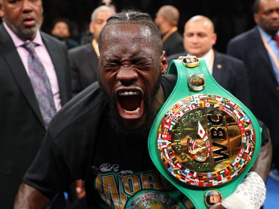 Deontay Wilder celebrates his victory over Dominic Breazeale (Getty)