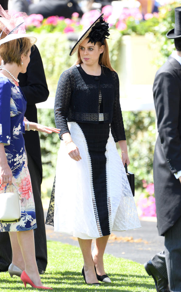 <p>Princess Beatrice dressed to impress in a monochrome, ankle-length dress, which she cinched in at the waist with a black belt. Photo: Getty Images </p>
