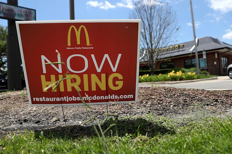 BATON ROUGE, LA - MAY 5: A now hiring sign is posted in front of a McDonalds restaurant on May 5, 2017 in Baton Rouge, Louisiana. According to a report by the Bureau of Labor Statistics, the unemployment rate fell to 4.4 percent when the US economy added 211,000 jobs in April. (Photo by Justin Sullivan / Getty Images)