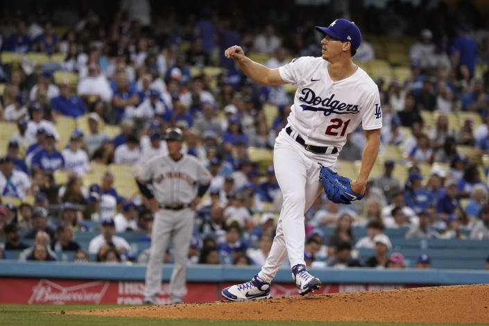 Los Angeles Dodgers starting pitcher Walker Buehler throws to the San Francisco Giants during the second inning of a baseball game Thursday, July 22, 2021, in Los Angeles. (AP Photo/Marcio Jose Sanchez)