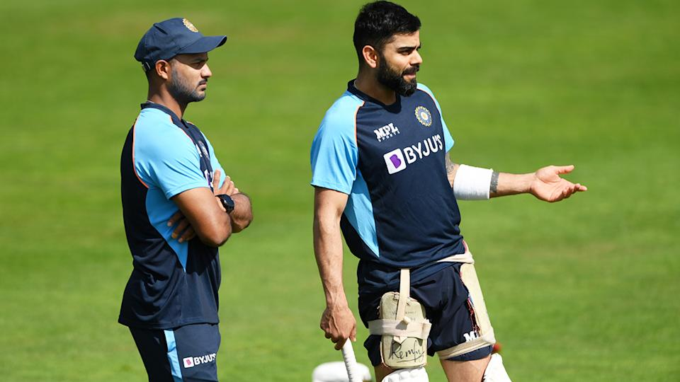 Virat Kohli, pictured here during a nets session ahead of the third Test against England.