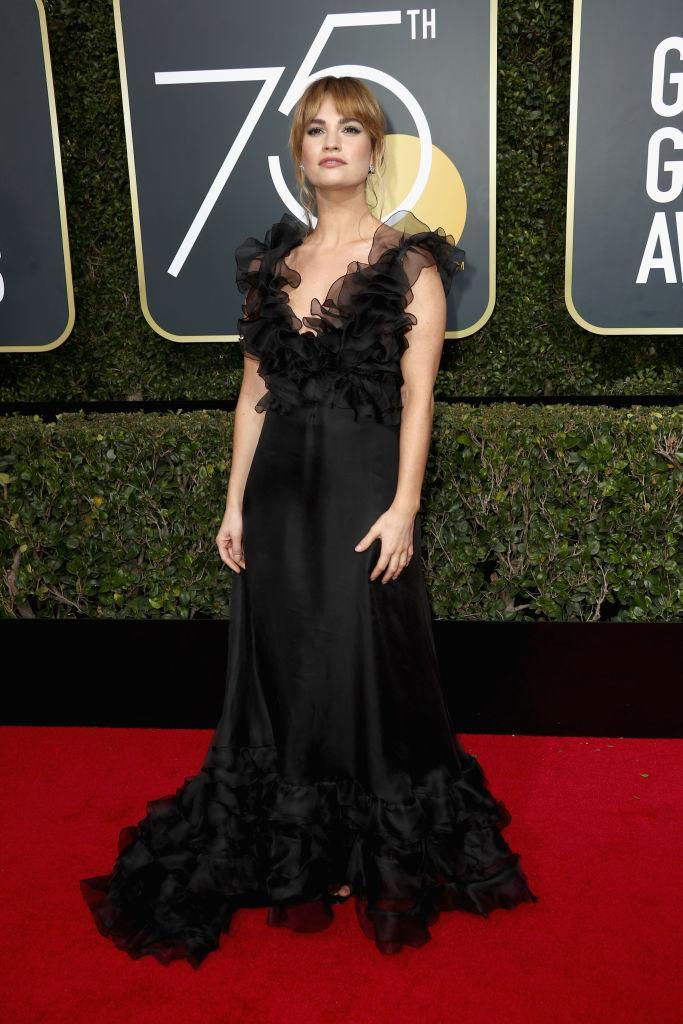 <p>Lily James, who appeared in <em>Baby Driver</em>, attends the 75th Annual Golden Globe Awards at the Beverly Hilton Hotel in Beverly Hills, Calif., on Jan. 7, 2018. (Photo: Steve Granitz/WireImag </p>