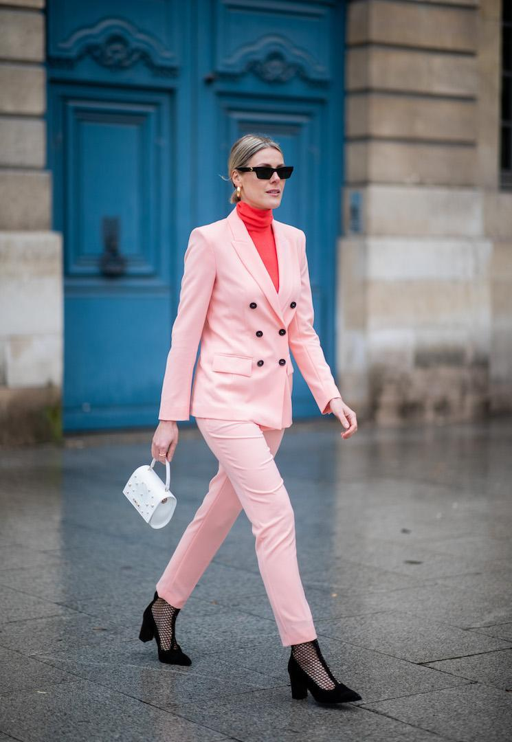 <p>Sofie Valkiers chose a head-to-toe pink and red ensemble by Marc Cain. <em>[Photo: Getty]</em> </p>