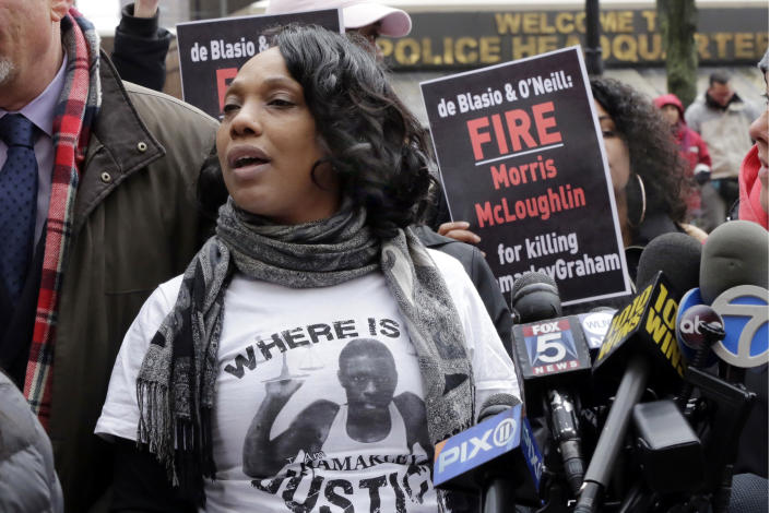 FILE — In this March 27, 2017, file photo, Constance Malcolm, the mother of Ramarley Graham, an unarmed black teenager shot and killed by a New York City police officer, holds a news conference in front of police headquarters. New York Attorney General Letitia James' inability to secure charges against Rochester police officers shown on video holding Daniel Prude to the pavement until he stopped breathing shows the difficulty in prosecuting officers who use deadly force. (AP Photo/Richard Drew, File)