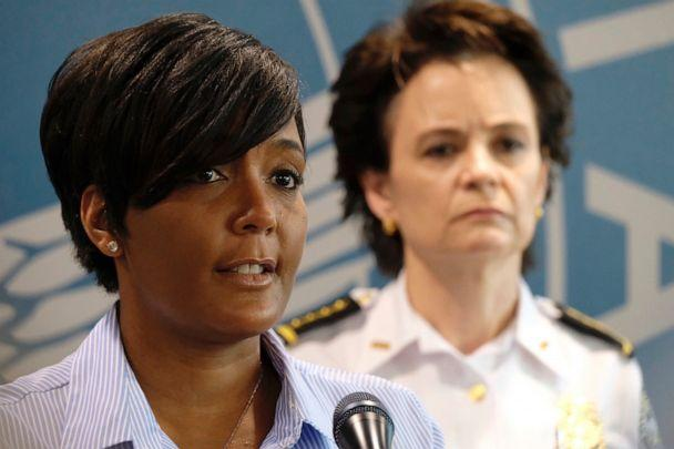 PHOTO: In this May 30, 2020, photo, Atlanta Mayor Keisha Lance Bottoms announces a 9 p.m. curfew as protests continue over the death of George Floyd. (Ben Gray/Atlanta Journal-Constitution via AP, File)