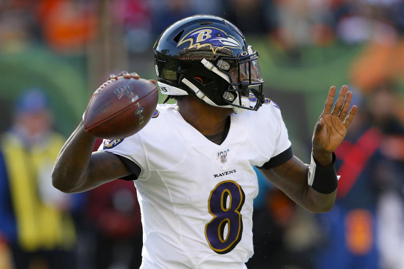 Baltimore Ravens quarterback Lamar Jackson passes during the second half of NFL football game against the Cincinnati Bengals, Sunday, Nov. 10, 2019, in Cincinnati. (AP Photo/Gary Landers)