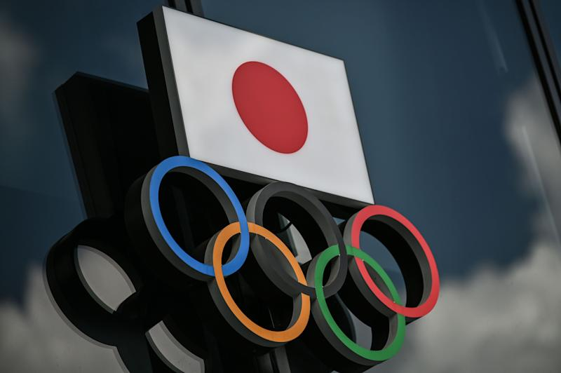 Olympic Rings and the Japanese flag