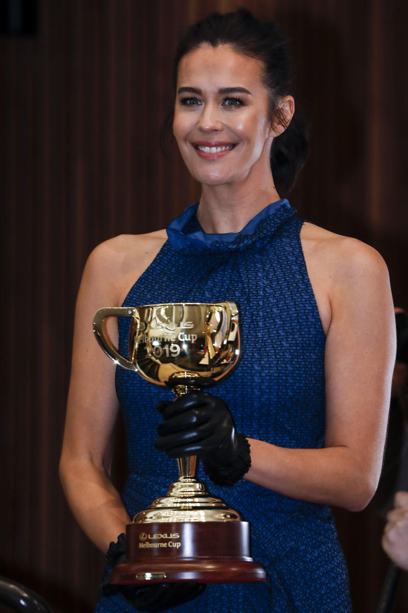 Megan Gale attends the 2019 Lexus Melbourne Cup Tour Launch at Flemington Racecourse on June 11, 2019 in Melbourne, Australia.