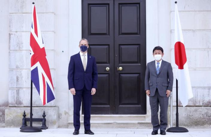 Britain's Foreign Secretary Dominic Raab meets with Japan's Foreign Minister Toshimitsu Motegi in Kent