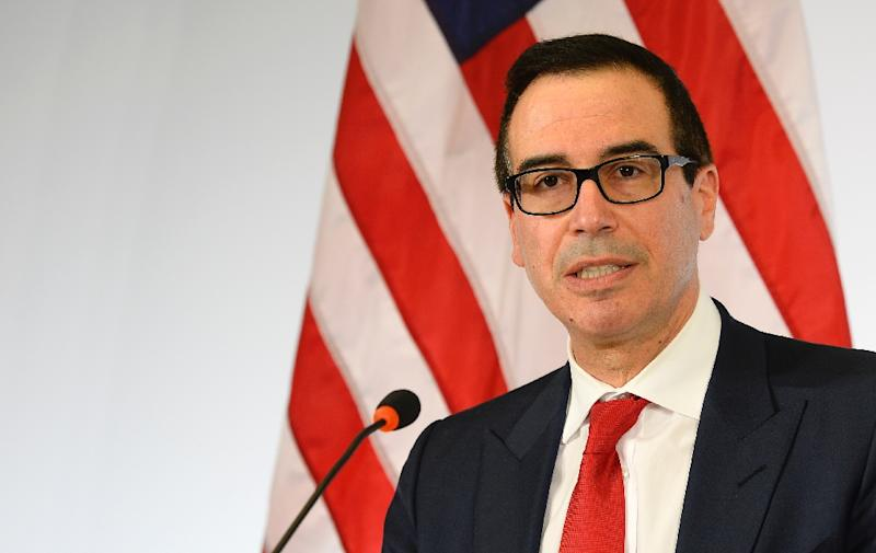 "US Secretary of the Treasury Steven Mnuchin, pictured in March 2017, says ensuring a level playing field for US businesses is an ""essential component of this administration's strategy"" (AFP Photo/THOMAS KIENZLE)"