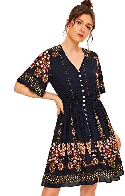 """This boho button down dress comes in sizes XS to XXL in a variety of prints, patterns and colors. <strong><a href=""""https://amzn.to/2k4tfpx"""" target=""""_blank"""" rel=""""noopener noreferrer"""">Normally $29, get it on sale for $18 on Prime Day</a>.</strong>"""