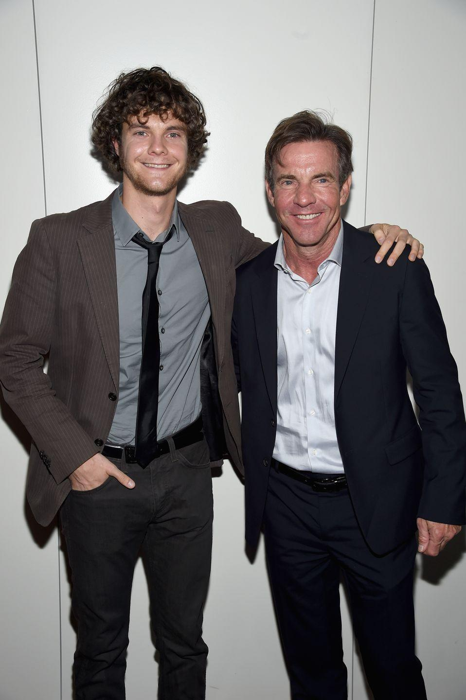 <p>Dennis Quaid is the father to three children—although their age gap is quite large. His oldest son, Jack (left), from his marriage to Meg Ryan is almost 15 years older than his twins, Zoe Grace and Thomas Boone, with ex-wife Kimberly Quaid. </p>
