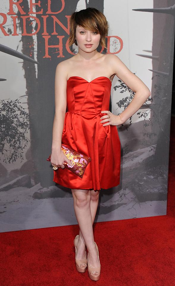 "<a href=""http://movies.yahoo.com/movie/contributor/1808438209"">Emily Browning</a> at the Los Angeles premiere of <a href=""http://movies.yahoo.com/movie/1810157569/info"">Red Riding Hood</a> on March 7, 2011."