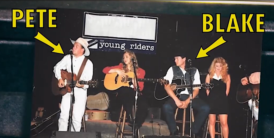 Pete Mroz and Blake Shelton back in the day in the Young Riders. (Photo: NBC)