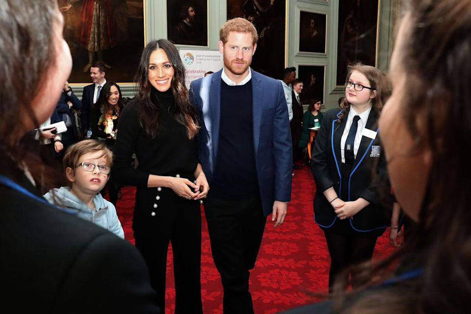 <p>Meghan's pants give off similar sailor vibes, which she wore during a visit to Scotland in 2018. Ahoy, mate! </p>
