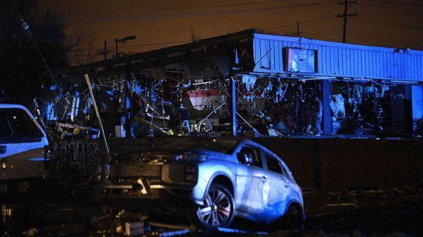 PHOTO: Damamged vehicles and buildings are seen in East Nashville after a tornado hit the city in the early morning hours of Tuesday, March 3, 2020. (Courtney Predoza/AP)
