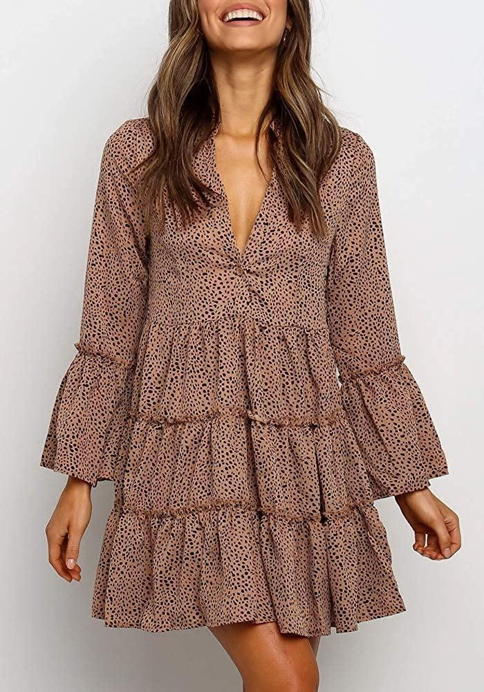 <p>The loose fit of this <span>Mitilly Ruffle Long-Sleeve V-Neck Leopard Dress</span> ($20, originally $40) makes it so comfortable.</p>