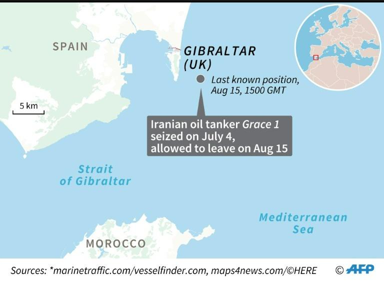 Map locating the last known position of Iranian oil tanker Grace 1, which was seized off Gibraltar on July 4 and allowed to leave August 15. (AFP Photo/)