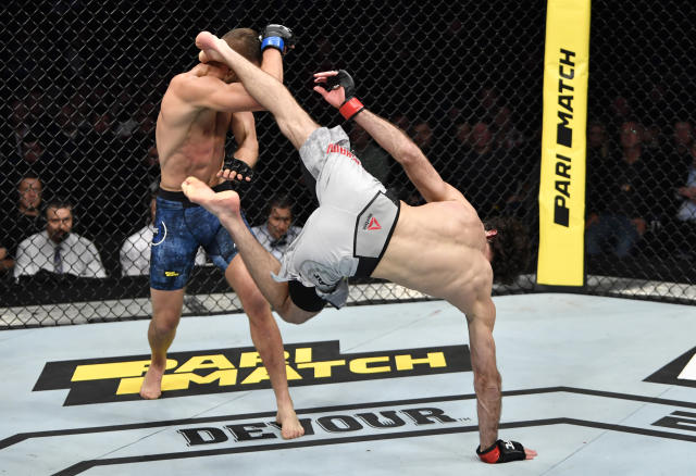 Zabit Magomedsharipov kicks Calvin Kattar in their featherweight fight during the UFC Fight Night event at CSKA Arena on Nov. 9, 2019 in Moscow, Russia. (Photo by Jeff Bottari/Zuffa LLC via Getty Images)