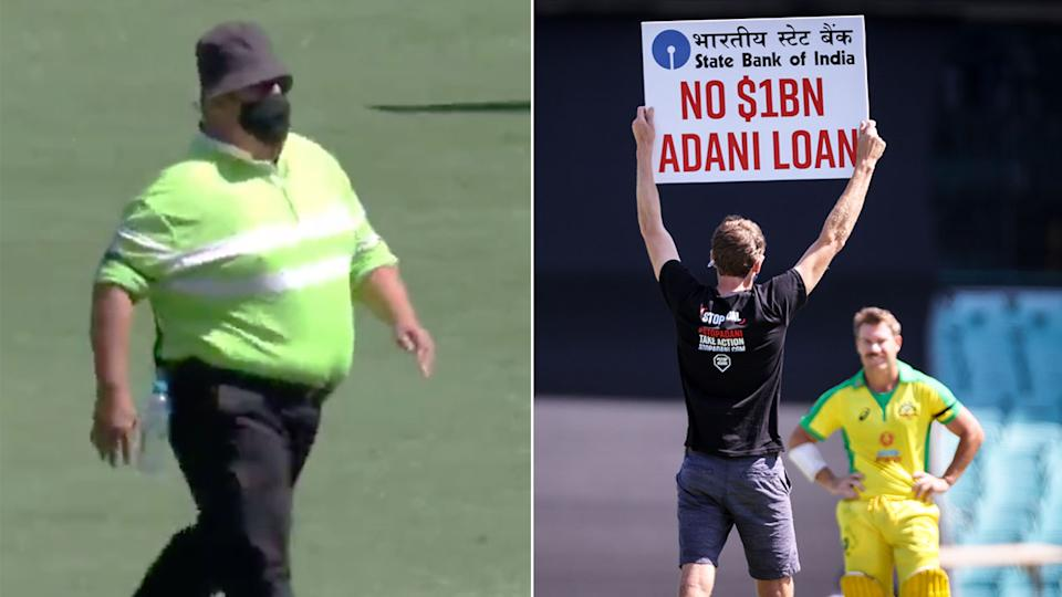 Seen here, an SCG security member casually walks out to stop pitch invaders.