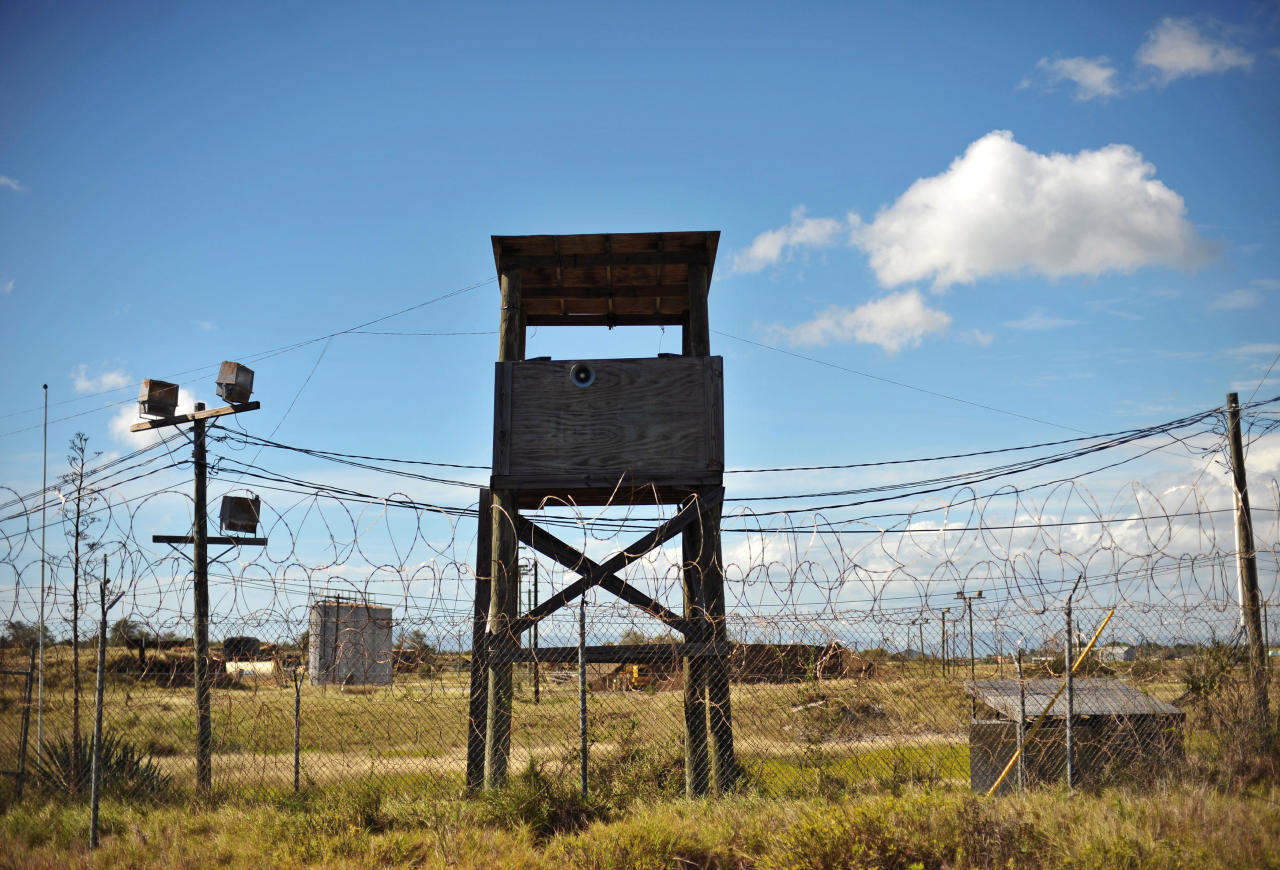 """An image reviewed by the US military shows a guard tower at the closed """"Camp X-Ray"""" at US Naval Station Guantanamo Bay, Cuba, December 9, 2008. The camp was in operation from January 2002 to April 2002. Some 300 prisoners were housed there before it closed.  REUTERS/Mandel Ngan/Pool   (CUBA)"""