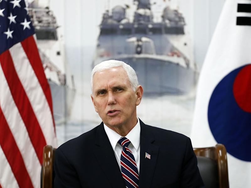 Mr Pence during his visit to South Korea: Getty