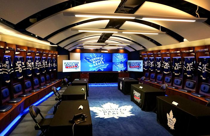 TORONTO, ON- OCTOBER 06: A general view of the Toronto Maple Leafs draft room before the first round of the 2020 NHL Entry Draft at Scotiabank Arena on October 06, 2020 in Toronto, Ontario, Canada. The 2020 NHL Draft was held virtually due to the ongoing Coronavirus pandemic. (Photo by Kyle Brown/NHLI via Getty Images)