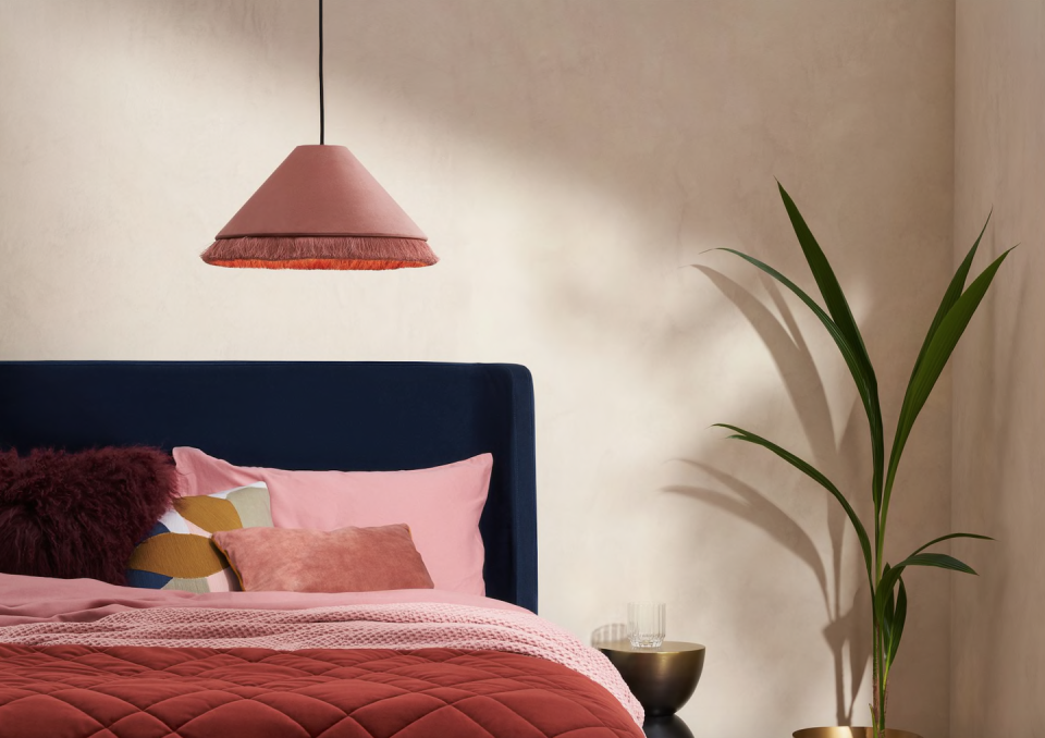 """<p>With its conical shape, tasselled edge and velvet finish, this lampshade is another with serious Art Deco references. This soft dusty pink colour works well with deep greens and blues, or you could make it the feature in a crisp white colour scheme.<br></p><p><strong>Shop now: <a href=""""https://www.made.com/syed-tasselled-lamp-shade-dusty-pink-velvet"""" rel=""""nofollow noopener"""" target=""""_blank"""" data-ylk=""""slk:Syed Tassellled Lampshade at Made.com"""" class=""""link rapid-noclick-resp"""">Syed Tassellled Lampshade at Made.com</a></strong></p>"""