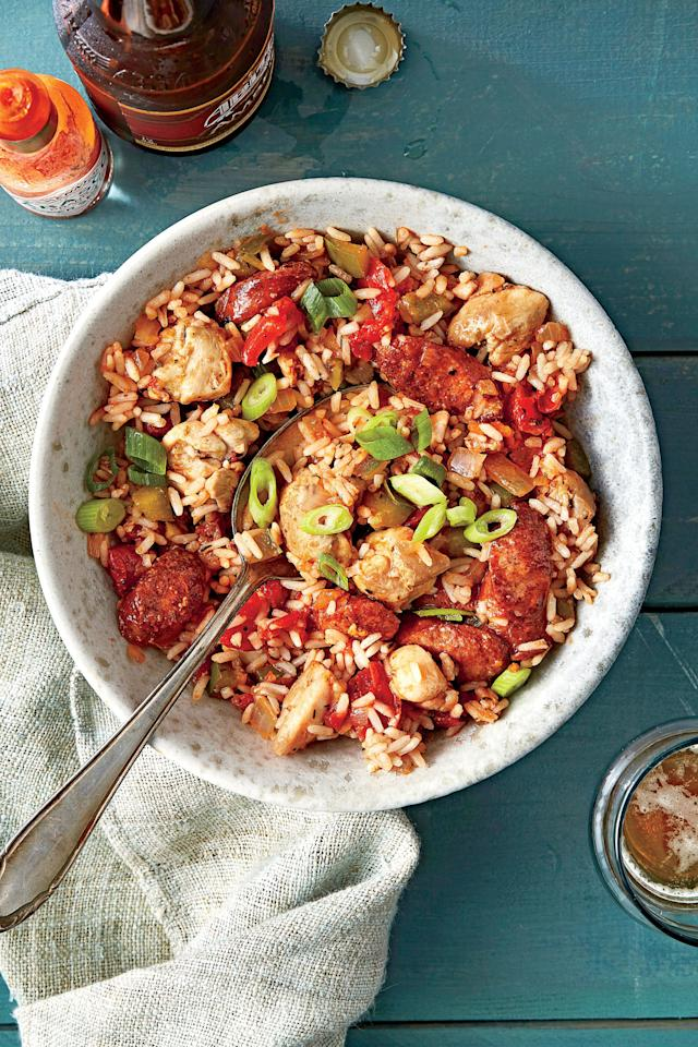 """<p><b>Recipe: <a href=""""http://www.southernliving.com/recipes/chicken-and-sausage-jambalaya-recipe"""" target=""""_blank"""">Chicken and Sausage Jambalaya</a></b></p> <p>This <a href=""""http://www.southernliving.com/grains/grits/creole-shrimp-sweet-potato-grits-video"""" target=""""_blank"""">creole dinner</a> will spice up your weeknight.</p>"""