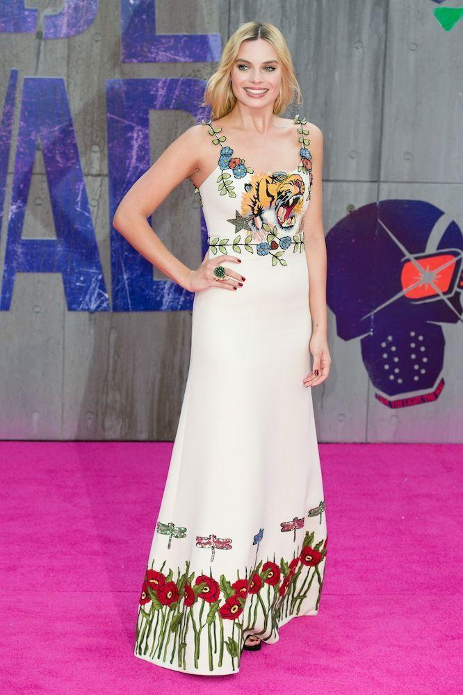 <p>Wearing Gucci at the London premiere of Suicide Squad in August 2016</p>