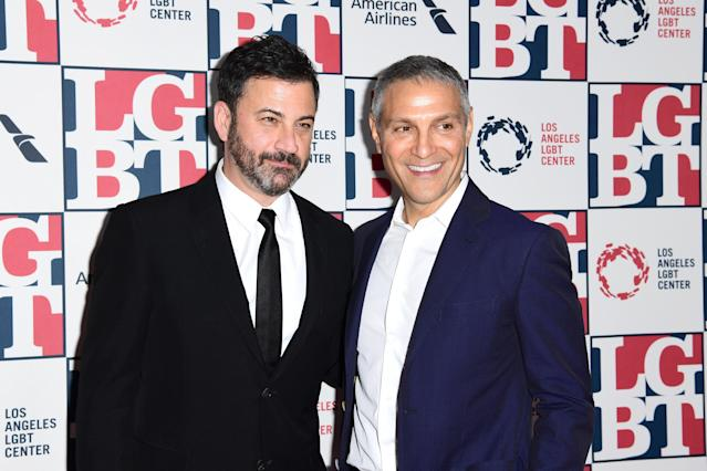 Jimmy Kimmel (L) and Ari Emanuel, both part owners of the UFC, attend Los Angeles LGBT Center's 48th Anniversary Gala Vanguard Awards at The Beverly Hilton Hotel on Sept 23, 2017. (Emma McIntyre/Getty)