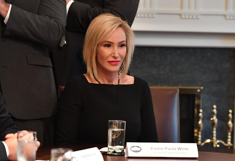 Pastor Paula White looks on during a meeting between US President Donald Trump and  African-American leaders in the Cabinet Room of the White House in Washington, DC, on February 27, 2020. (Photo by Nicholas Kamm / AFP) (Photo by NICHOLAS KAMM/AFP via Getty Images)